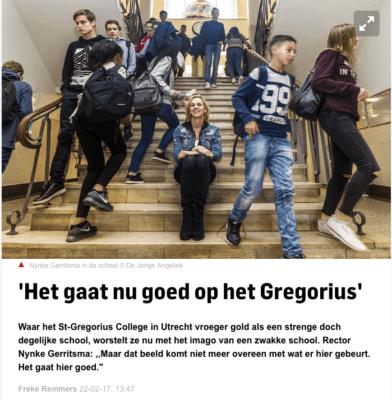 In het AD Utrecht: 'Het gaat nu goed op het Gregorius'