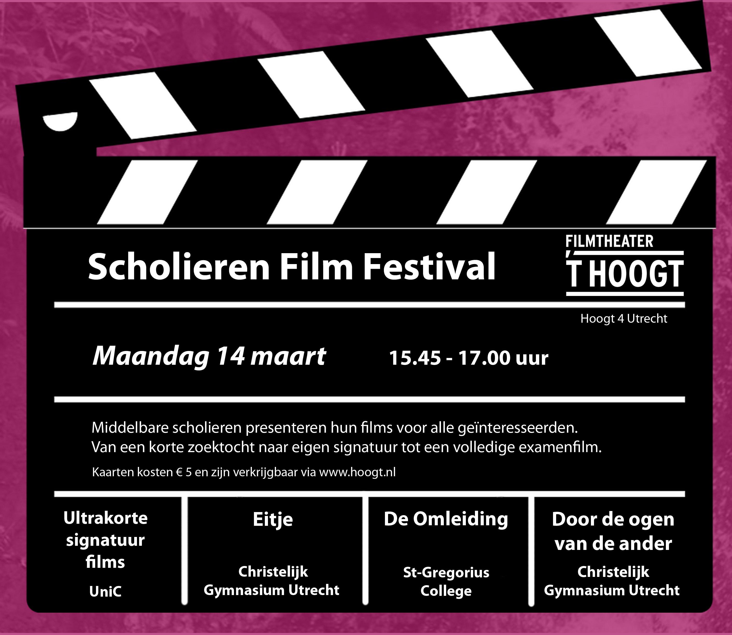Uitnodiging Scholierenfilmfestival 't Hoogt